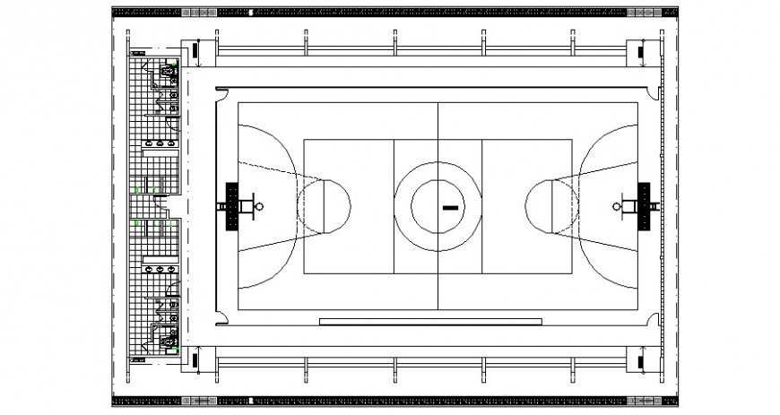 Sport Centre with play ground in auto cad file