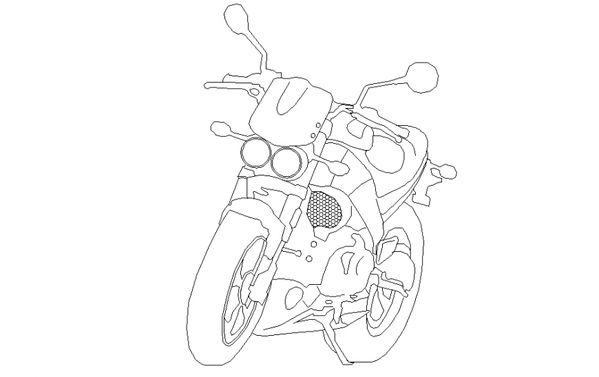 Sports Bike Block Detail in DWG file