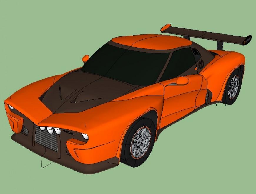 Sports car detail 3d model layout CAD blocks sketch-up file