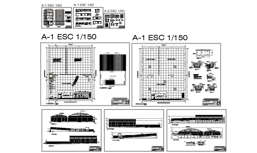 Sports center all sided elevation, section, floor plan and construction details dwg file