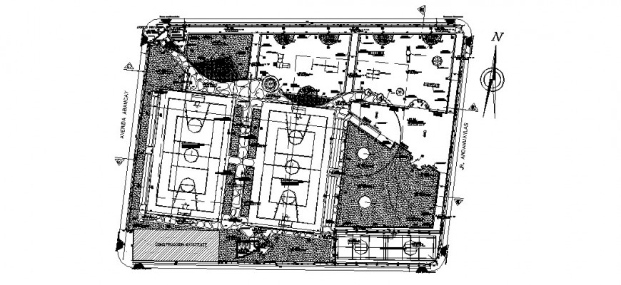 Sports center building detail 2d view layout plan in autocad format
