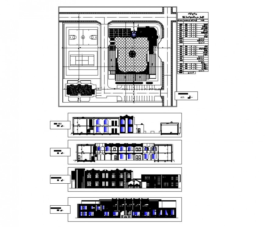 Sports center building plan and elevation 2d view CAD structure layout autocad file