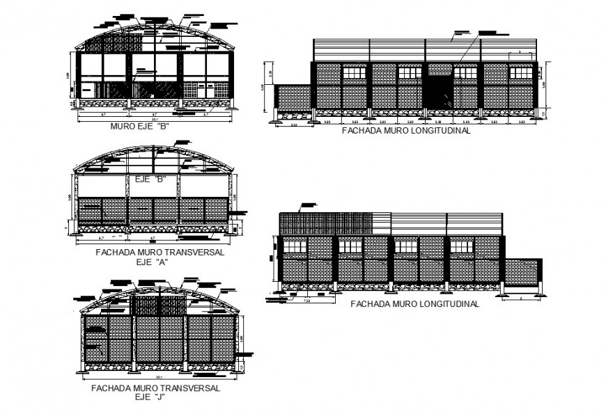 Sports center building two-story all sided elevation and sectional details dwg file
