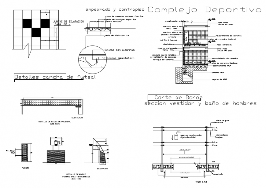 Sports center drawing and layout plan