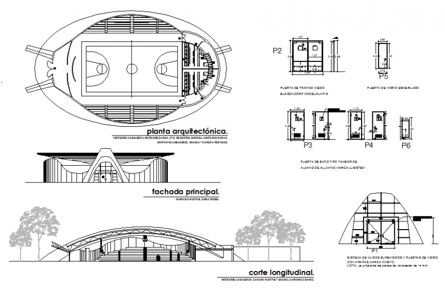 Sports center elevation, section, plan and doors and windows auto-cad details dwg file