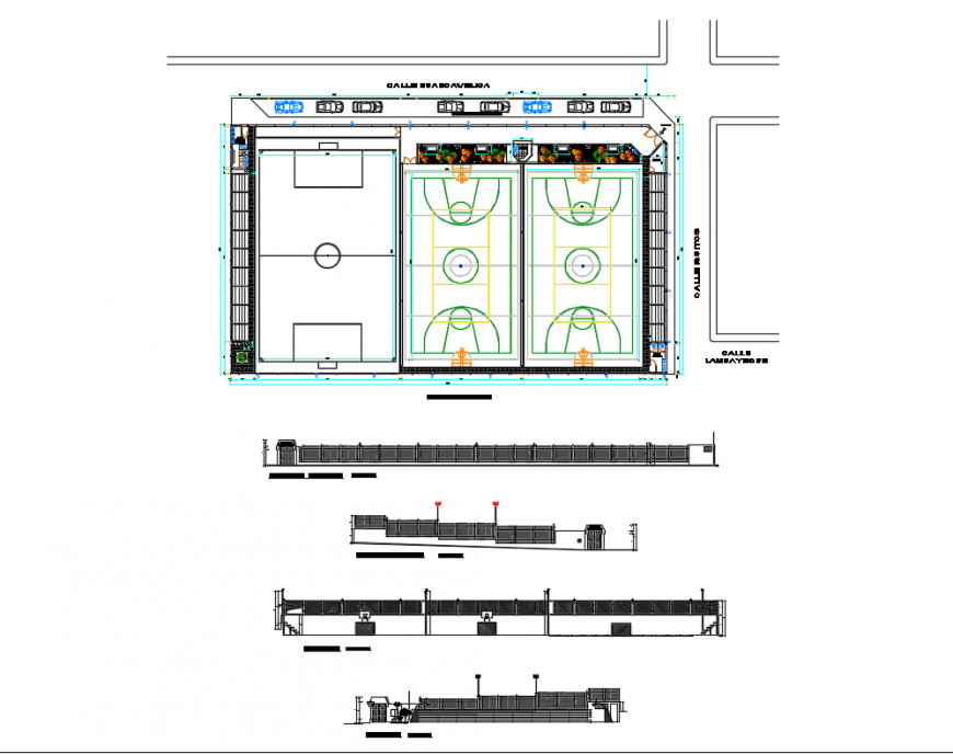 Sports center elevation, section and sports ground structure details dwg file