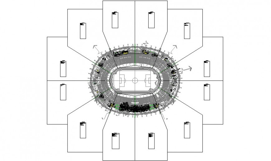 Sports center layout plan with landscaping structure details dwg file