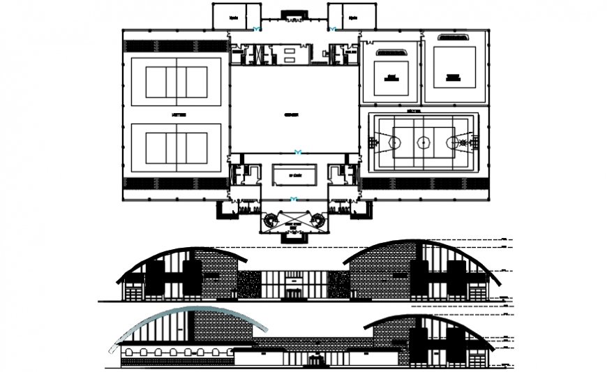 Sports center model detail of elevation and plan details in dwg file