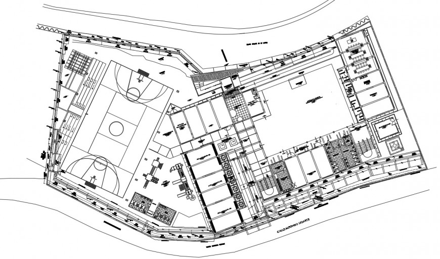 Sports center multi-story building distribution plan drawing details dwg file