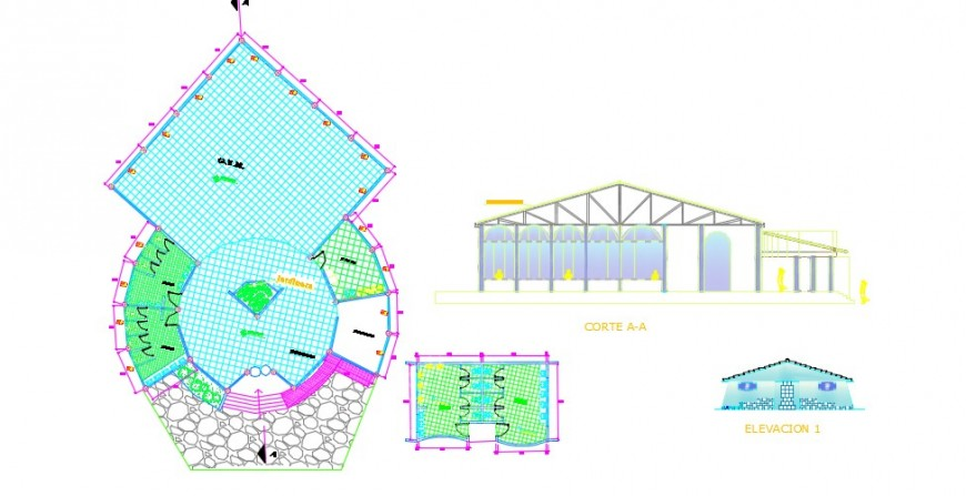 Sports center play area top view plan detail dwg file
