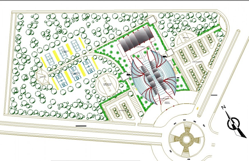 Sports center project planning autocad file
