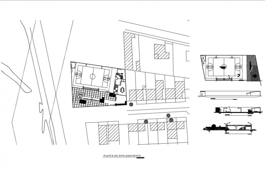 Sports center section site plan and auto-cad details dwg file
