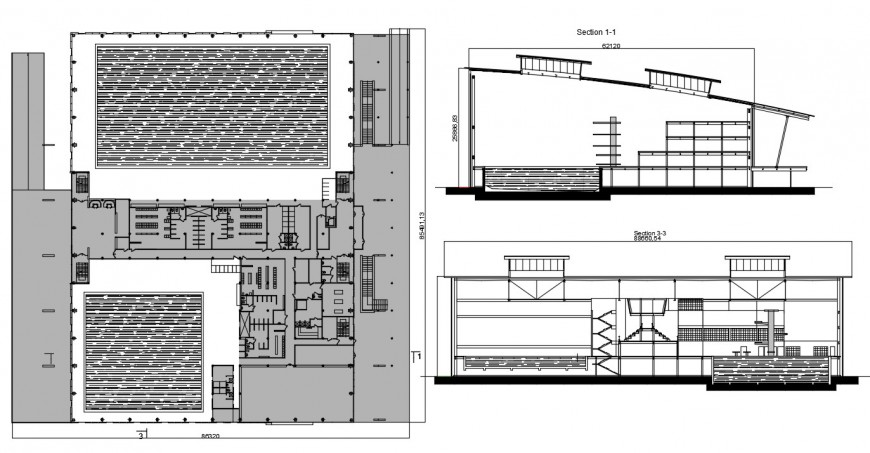 Sports center with swimming pool section and plan drawing details dwg file