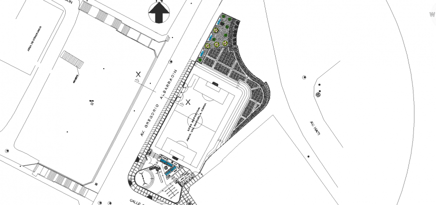 Sports complex site plan detail in dwg AutoCAD file.