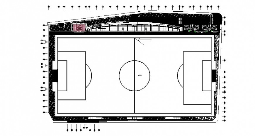 Sports ground architecture layout plan cad drawing details dwg file