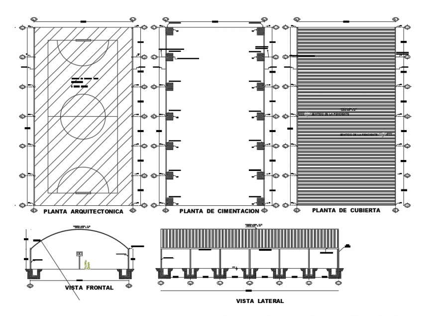 Sports ground foundation, plan and cover plan and auto-cad details dwg file