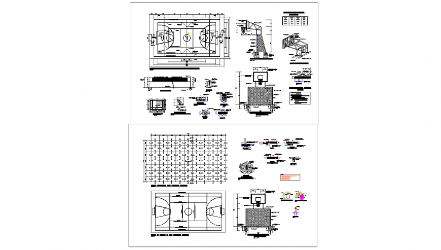 Sports ground plan and constructive landscaping structure cad drawing details dwg file