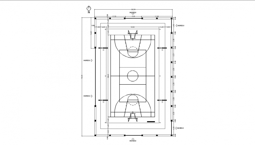 Sports ground plan and landscaping structure details dwg file