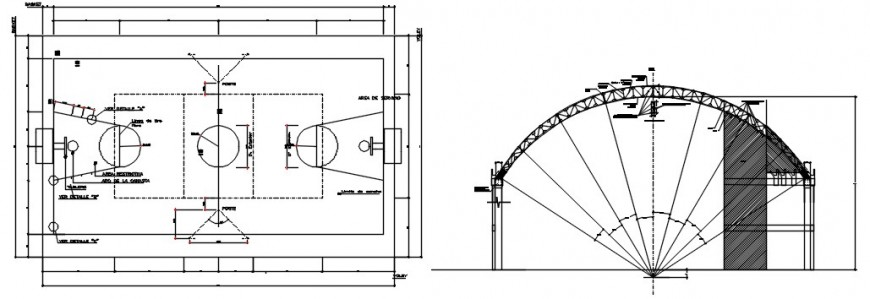 Sports ground top view cad file
