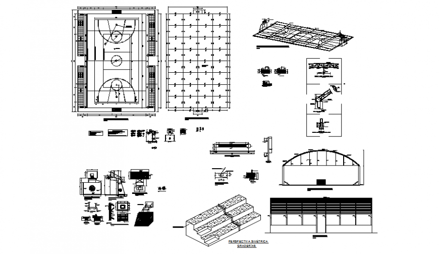 Sports ground with necessary detail in auto cad file