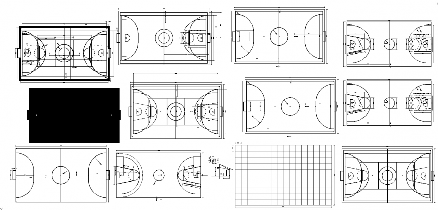 Sports grounds multiple plan and landscaping structure cad drawing details dwg file