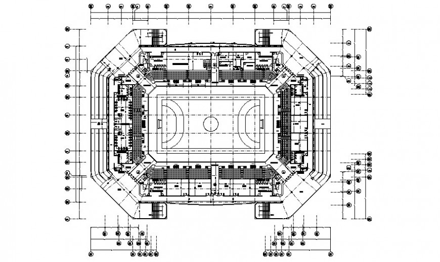 Sports play area details center building drawing in AutoCAD