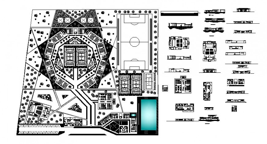 Sports play area drawings details 2d view work plan and elevation autocad file