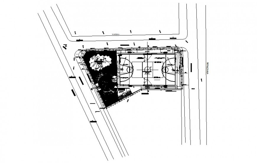 Sports playground area drawing details plan 2d view autocad file