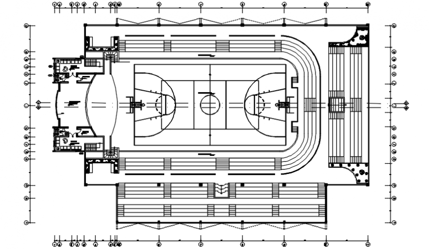 Sports playground details 2d view layout plan autocad drawings