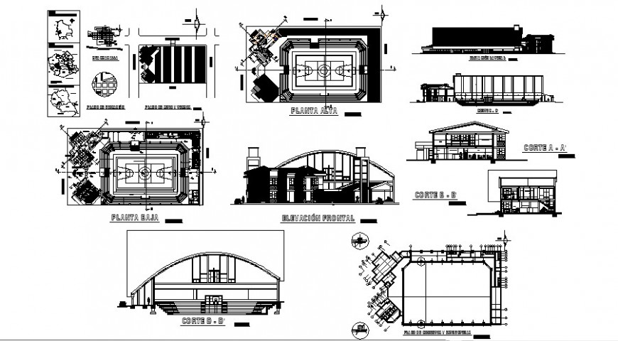Sports playground plan elevation and sectional drawing in AutoCAD
