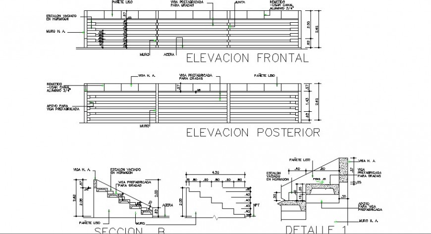 Sports stadium elevation and staircase section cad drawing details dwg file