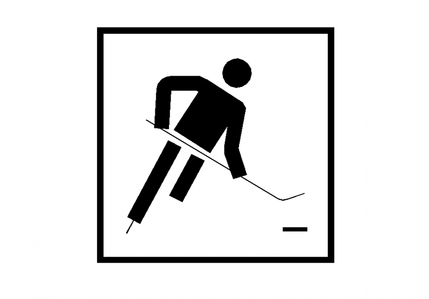 Sporty hockey sign detail 2d view layout elevation autocad file