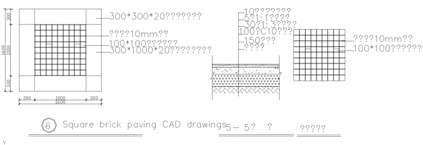 Square brick paving in dwg file.