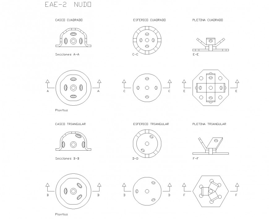 Square helmet plan and section autocad file