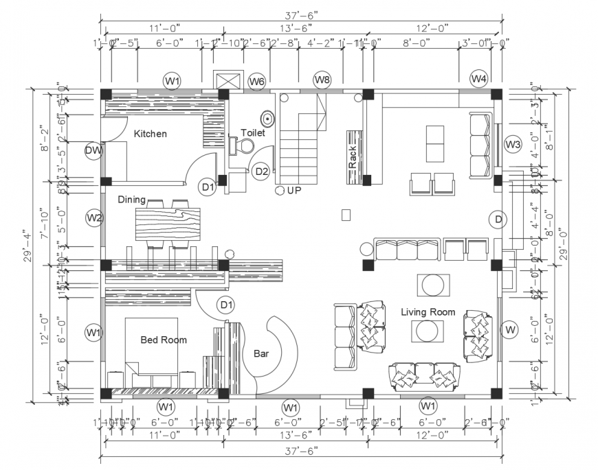 Square one family house architecture layout plan cad drawing details dwg file