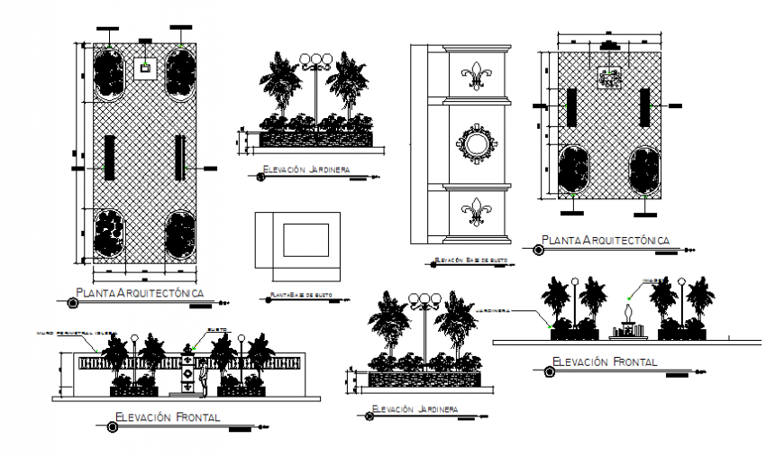 Square park landscaping structure of church cad drawing details dwg file