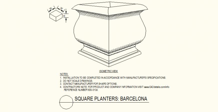 Square planters plants pot detail dwg file