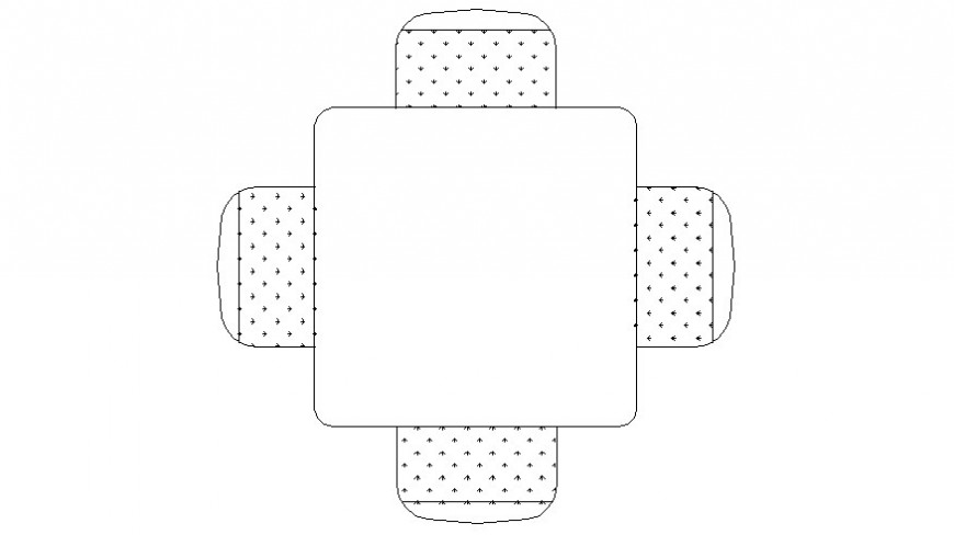 Square shape table details drawing in autocad software