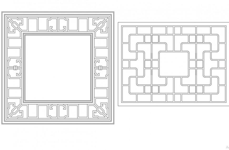 Square shape window detail dwg file