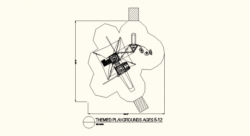 Square shaped detail play ground plan dwg file