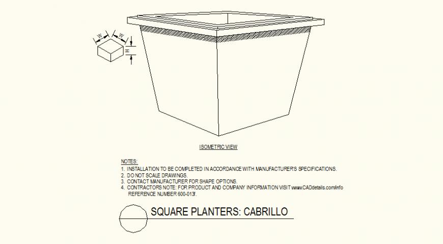 Square shaped edges pot detail layout file