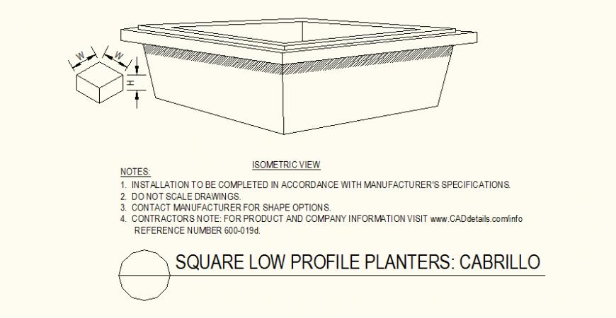 Square shaped planters low profile detail layout plan