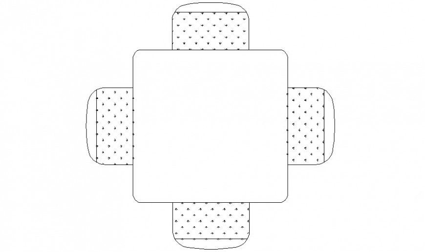Square small table details elevation 2d drawing in autocad