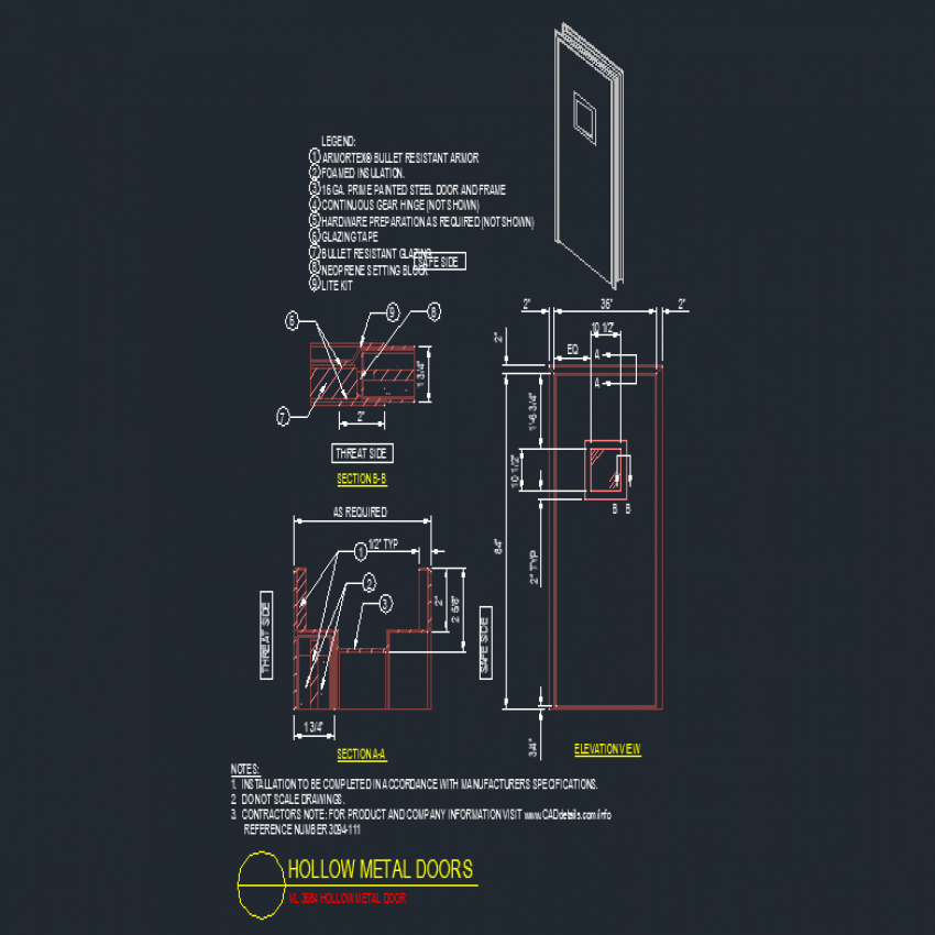 Square vent door elevation and section layout file