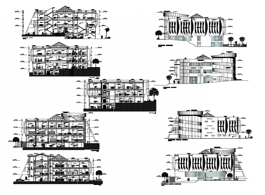 St. Martin university building all sided elevation and section drawing details dwg file