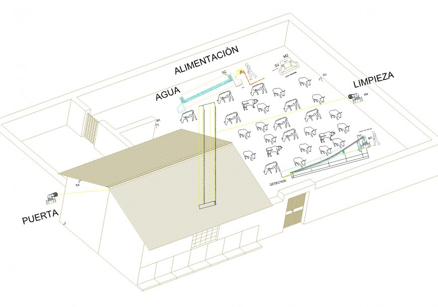 Stable house 3 D plan autocad file,