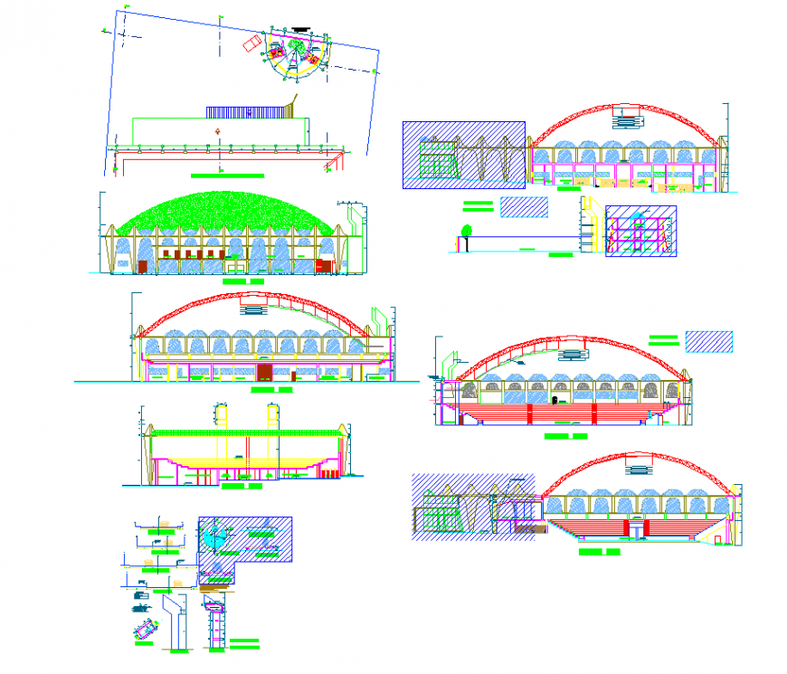 Stadium building detail elevation and section 2d view layout dwg file