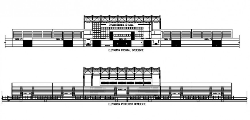 Stadium elevation 2d view drawings autocad software file