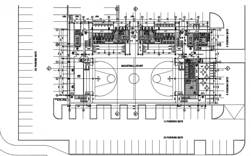 Stadium of a basket ball court  top view layout plan dwg file
