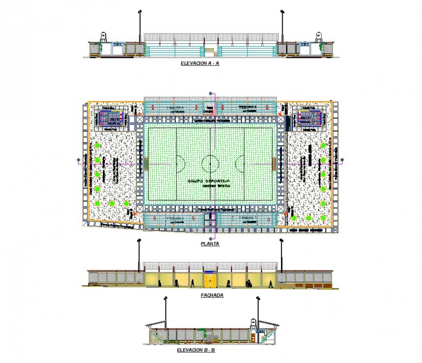 Stadium play-ground detail plan, elevation and section layout file in dwg format